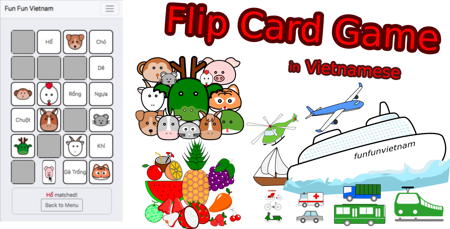 Flip Card Game for learning Vocabuary