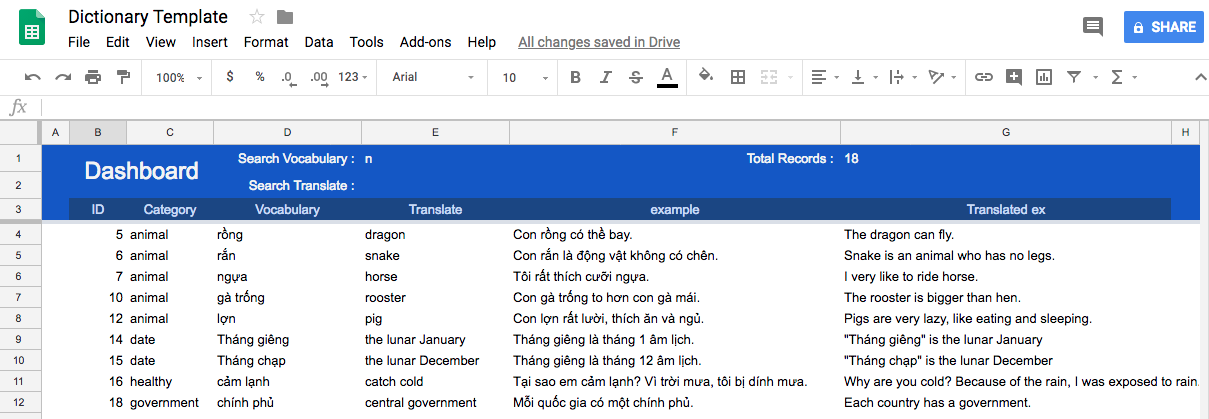 Use Google Sheets to make your own dictionary