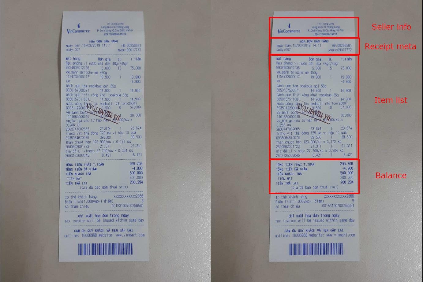 vietnamese receipt layout